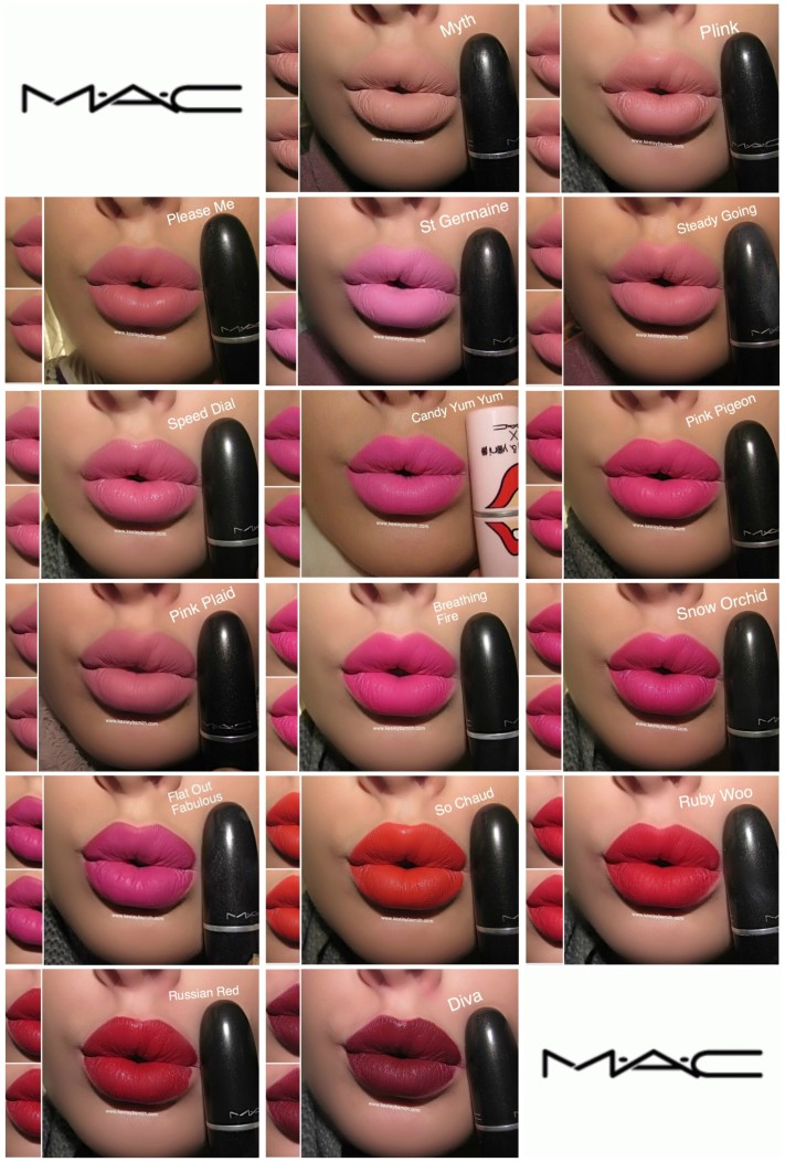 MAC LIP SWATCHES 1