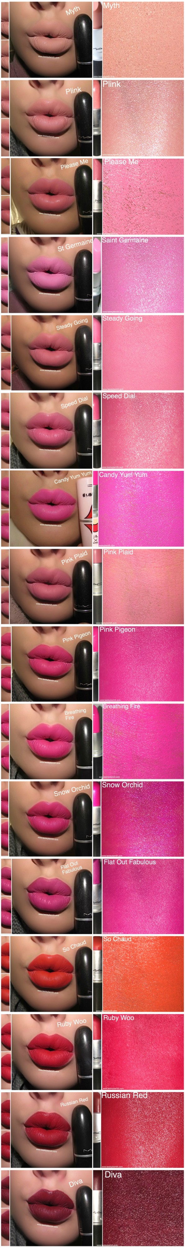 MAC LIPSTICK SWATCH 2